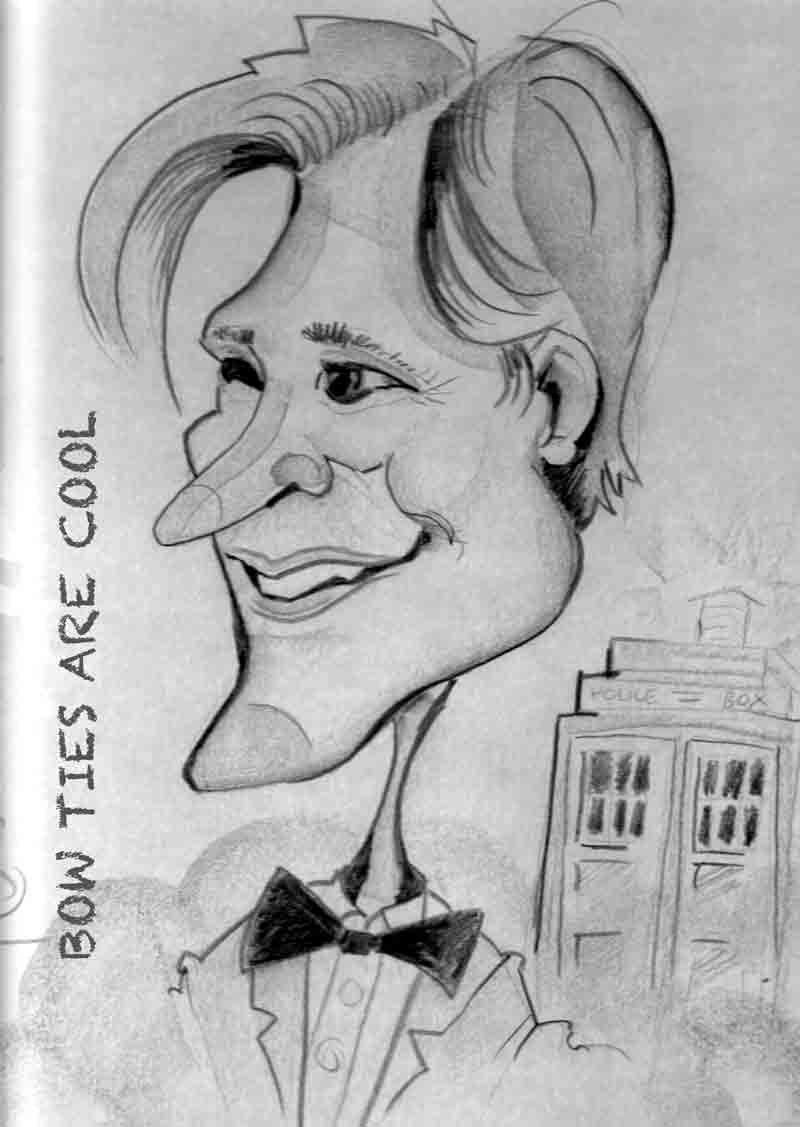 Facebloke Caricaturist drawing of Matt Smith Dr Who provided by ELLE Entertainment