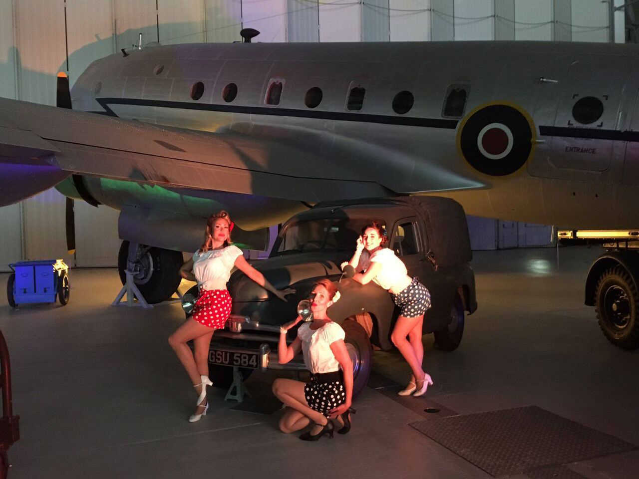 UK BAND-Polka Dots posing on WW Jeep and Plane
