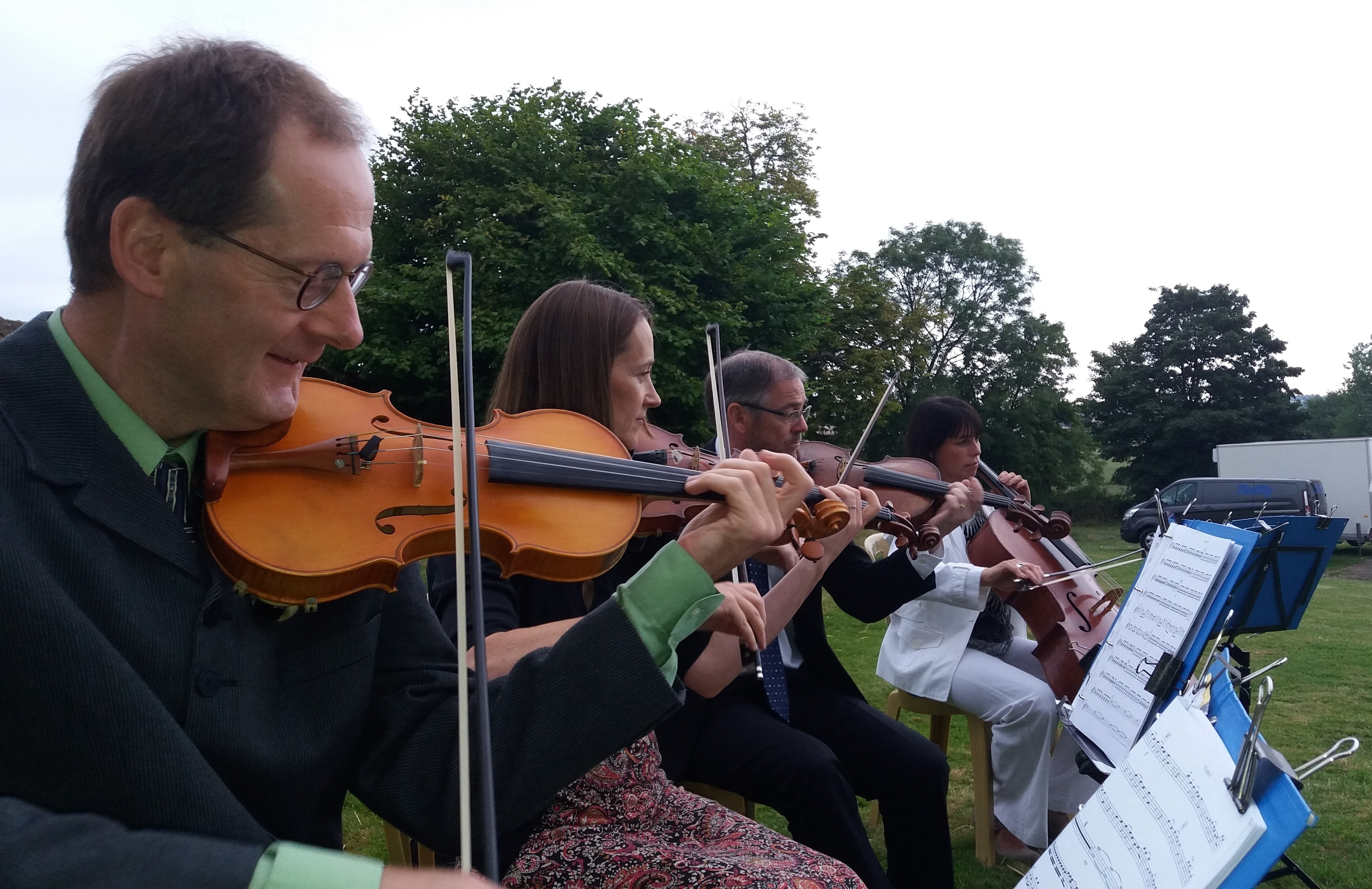 Manor Strings quartet outdoors