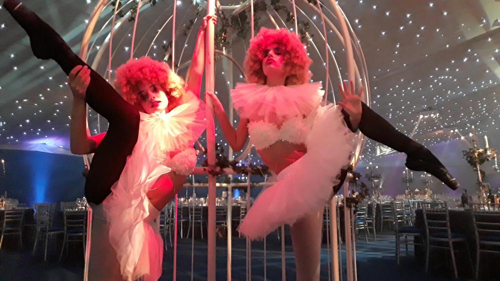 two vintage circus ballerinas